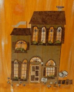 EILEEN GARSON ACRYLIC ON BOARD COLLAGE VICTORIAN HOUSE PAINTING ROLLING HILLS