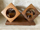 Folk Art Whimsy Mid Century Modern MCM Mystery Craved Cube In Cube Wooden