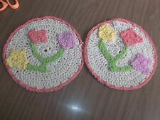 Set of 2 PeachFloral Cotton Dishcloths Hotpads Crocheted