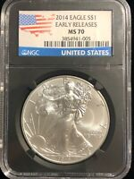 2014 U.S. Silver Eagle $1 Dollar NGC MS70 1 Oz .999 Pure Coin EARLY RELEASES