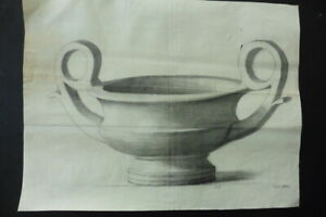 FRENCH SCHOOL 1882 - DECORATIVE STUDY CLASSICAL VASE - MONOGR. CHARCOAL