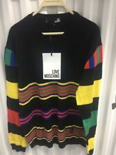 NWT LOVE MOSCHINO Black Bruno Finesse In Living Color Striped Cotton Sweater XL