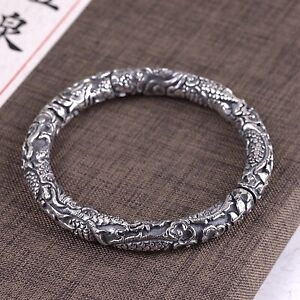 Solid Sterling Silver Mens Heavy Dragon Patterned Bangle Cuff Bracelet 110g up