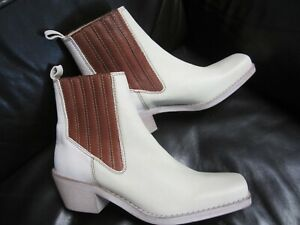 Free People Landry Western Square Toe Chelsea Ivory Leather Brown 39 8 NEW