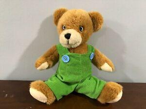 "2011 Yottoy 12"" CORDUROY Tan Bear Plush Toy Green Overalls Blue Buttons"