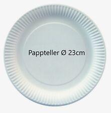 100 Pappteller weiß rund 23cm beschichtet Imbissteller