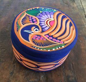 Ceramic Bird Jewel Trinket Box Mexican Art take me home for Valentines Gift