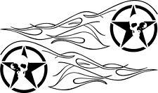 Tank Aufkleber Für Harley Suzuki Chopper Bike  R. u. L. Old Flam Star Skull 49