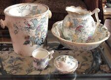 Antique 8 Pc Chamber Set Basin,Pitcher,Pot,Cup ,Bowl Blue Rosalyn England M L Co