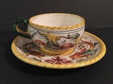 """ANTIQUE FAIENCE FRANCE MARKED """"FF"""" CUP AND PLATE"""