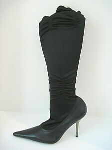 L-O-V-E~! $325 BCBGirls Black Leather Fabric Silver Stiletto Boots Size 9.5 B