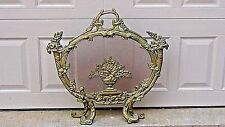ANTIQUE FRENCH ROCOCO GILT BRONZE BRASS FIREPLACE SCREEN WITH BASKET FLOWERS