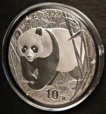 2002 CHINA SILVER PANDA COIN 1 OZ. CHINESE 10 YUAN IN CAPSULE