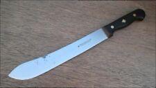Vintage HERDER Carbon Steel Chef's Butcher Knife w/Spade Inlay Handle RAZOR KEEN