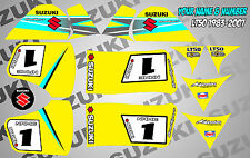 suzuki lt50 quad graphics stickers decals name & number lt 50 mx laminate yellow