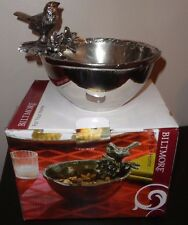 "Biltmore Metal Bird Serveware Feeder Decorative Bird Bowl India 6"" D X 3""H"