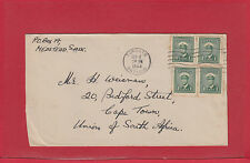 1944 War Issue to SOUTH AFRICA 4x1c Canada cover surface rate