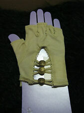 Tan Military Style Buttons Fingerless Gloves  arm warmer new Drivers Gloves