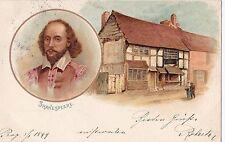 I 21 - Litho Porträt Shakespeare Geburtshaus, Stratford-upon-Avon, 1900 gelaufen