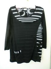 Top TS New 3/4 Sleeve Black/Grey crossover  Size XS