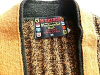 McGregor Continential Rib Wool Cardigan Brown Sweater Brass Buttons Sz Med