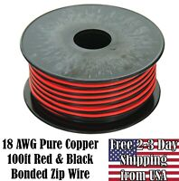 18 AWG Gauge Copper Red Black Zip Wire 12V Auto Remote Hookup Power Cable 100 ft