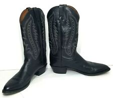 Lucchese Cowboy Boots Western Tall Boots Kangaroo T3010 Black Leather 11.5 D