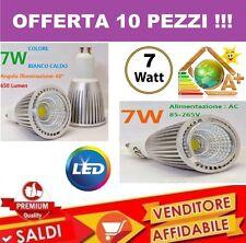 10 PZ. FARO FARETTO LED 7W SPOTLIGHT COB INCASSO LAMPADINA SMD LUCE CALDA SPOT