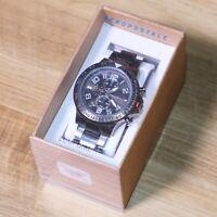 Aeropostale Men's Gunmetal Gray Metal Round Chrono Analog Watch OS One Size 🔥