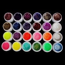 24 PCS Mix Glitter Color UV Builder Gel Set for Acrylic Nail Art Tips