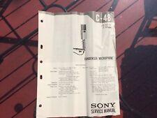Sony C-48 Condenser Microphone Service Manual Digital Copy
