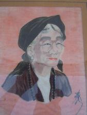 Portrait femme asiatique peinture sur soie signee vers 1950