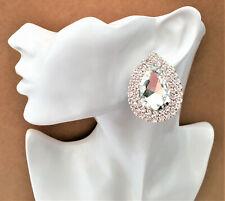 Big Beautiful Teardrop Stud CLIP ON Earrings with clear Diamante in Silver Tone