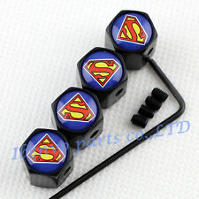 Anti-theft Black Metal Car Wheel Tyre Tire Stem Air Valve Cap For Superman Style