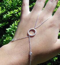 "Sterling Silver CZ Circle Finger/Hand Ring Chain Slave Bracelet 6 1/2 - 7 1/2"""