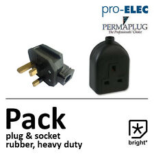 13 Amp Rubber Plug & Socket 13A Heavy Duty Mains Electrical 3pin Black