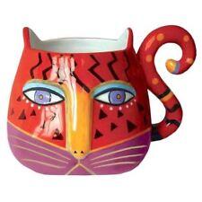 """Laurel Burch Fantiasticat Cats Sculpted Mug 16oz. Red 4.25"""""""