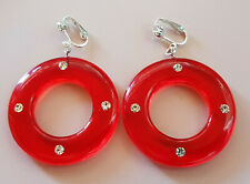 OHRCLIPS  CLIPS CREOLEN STRASS ROT TRANSPARENT