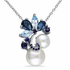 """Sterling Silver Pearl 2 3/4 Ct Sky Blue Topaz & Sapphire Pendant Necklace 18"""""""