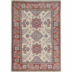 """4'x5'6"""" Ivory Special Kazak Tribal Design Pure Wool Hand Knotted Rug R57070"""