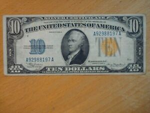 1934 A NORTH AFRICA WW2 WORLD WAR II EMERGENCY TEN DOLLAR $10 SILVER CERTIFICATE