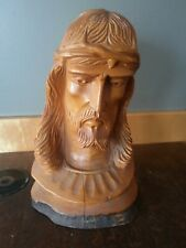 Vintage LG Jesus Christianity Wood Carving Bust Head Face Thorn Crown Religious