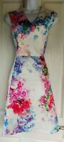 Womens Oasis Dress skater size 14 white blue pink floral occasion party vgc