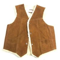 Vintage Mens L Genuine Leather Vest  Suede Shearling Look Made in Mexico