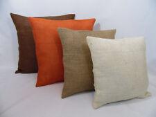 Handmade rustic solid burlap pillow covers, burnt orange, brown, ivory, natural