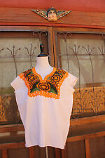 MEXICAN Frida Kahlo Women's Embroidered PEASANT Blouse COTTON  Huipil FLORAL M/L