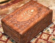"Original Vintage Wooden CARVED STASH BOX Hinged 6.5"" L  Inlaid Bone India Blue"