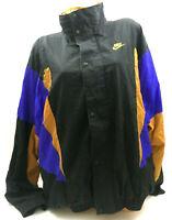 Vtg 90's Nike Men's Windbreaker Jacket Color Block Black Purple Gold Gray Tag XL