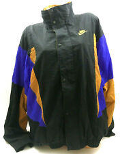 Vtg 90's Nike Men's Windbreaker Jacket Color Block Black Purple Gold Gray Tag XL