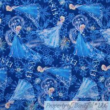 BonEful Fabric Cotton Quilt Blue White Snowflake Frozen Elsa Girl Dress Scrap